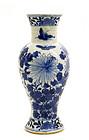 Late 19C Chinese Blue & White Vase Chrysanthemum