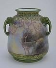 Japanese Nippon Porcelain Moriage Scenic Vase Mk