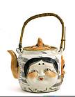 Japanese Banko Ware 5 Noh Mask Teapot w Oni