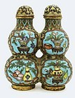 Chinese Gilt Cloisonne Double Head Gourd Snuff Bottle