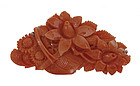 Chinese Red Coral Carved Flower Brooch Pin