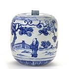 Japanese Chinese Blue & White Water Jar Mizusashi
