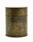 Chinese Copper Inlay Pill Round Box Crane & Tiger