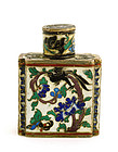 Chinese Silver Enamel Pill Box Bottle Bird & Deer