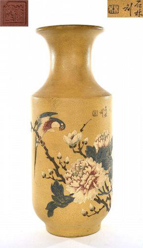 Chinese Yixing Famille Rose Flower Bird Vase Sg