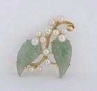 Hawaiian Mings's 14K Gold, Jade & Pearls Pin Brooch