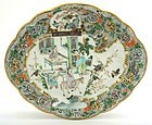 Early 20C Chinese Famille Rose Dish Plate Figurine