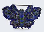 Chinese Silver Enamel Butterfly Pendant Lock