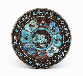 Early 20C Chinese Silver Enamel Round Box with Fish Mk