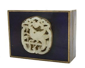 19C Chinese Enamel Box  White Jade Plaque