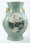 Chinese Celadon Famille Rose Vase Elephant Ear