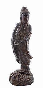 19C Chinese Wood Carved Quanyin Buddha Vase