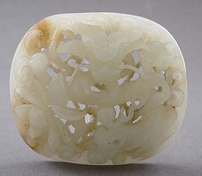 18/19C Chinese White Jade Carved Dragon Plaque
