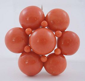 Vintage Red Coral Craved Bead Flower Brooch Pin