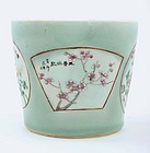 Early 20C Chinese Famille Rose Celadon Planter