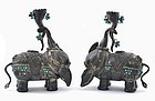 2 Chinese Silver Elephant Candle Holder Turquoise Bead