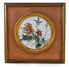 Chinese Famille Rose Porcelain Plaque Flower Sg & Date