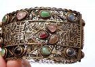 Chinese Silver Gold Washed Jadeite Tourmaline Bracelet
