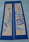 2 Chinese Silk Embroidery Textile Scroll Panel