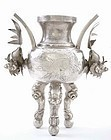 Chinese Silver Dragon Fish Ears Fu Lion Censer