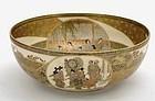 Japanese Satsuma Bowl Geisha & Samurai Signed Senzan