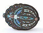 Early 20C Chinese Silver Enamel Moth Compact Box Mk