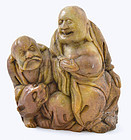 Chinese Soapstone Happy Buddha & Louhan Figurine God