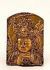 Old Japanese Gilt Bronze Buddha Plaque