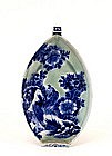 Japanese Celadon Blue White Imari Boat Plate