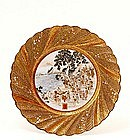 19C Japanese Kutani Plate Sea Prayer Fan Swir