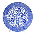 5 Japanese Seto Blue & White Phoenix Plate Sg