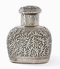 Early 20C Chinese Silver Sterling Tea Caddy Bamboo Mk