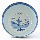 17C Chinese Blue & White Porcelain Bowl Lady Figurine