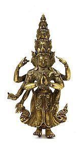 19C Chinese Tibetan Gilt Bronze 8 Arms Kwan Yin Buddha