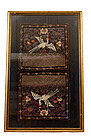 2 Chinese Civil Rank Silk Badge Bird Embroidery