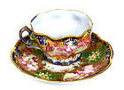 5 Japanese Nippon Cup & Saucer Plate Mk Flower