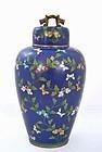 Chinese Cobalt Blue Gilt Cloisonne Cov Jar Dragon