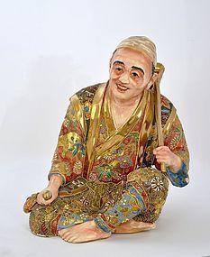 Lg Old Japanese Satsuma Figure Wood Cutter Axe Nambe