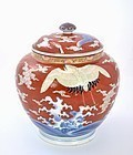Old Japanese Fukagawa Porcelain Cov Jar Crane Bird