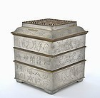Old Chinese Pewter Incense Censer Clock Calligraphy