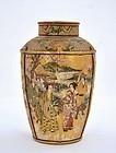 Old Japanese Satsuma Tea Caddy Jar Geisha Samurai
