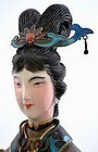 Chinese Gilt Silver Enamel Lady Holding Instrument