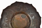 5 Old Japanese Bronze Color Brass Tea Dish Plate