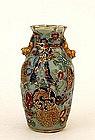 19C Chinese Celadon Rose Medallion Ribbon Vase
