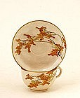 Old Japanese Satsuma Maple Leaf Cup Saucer Mk