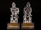 2 Old Chinese Crystal Carved Lady Hold Vase
