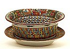 Old Chinese Rose Medallion Reticulated Bowl Plate