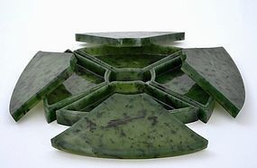 Late 19C Chinese Spinach Jade Carved Box & Tray