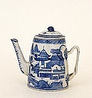 19C Chinese Export Blue & White Canton Teapot