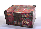 Old Korean Painted Ox Horn & Wood Hwagak Haem Box